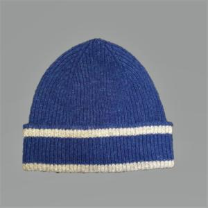 BLUE AND SILVER HAT 100% LAMBSWOOL