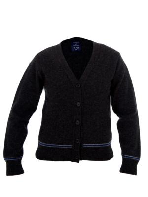 BLUE AND SILVER CARDIGAN 100% LAMBSWOOL