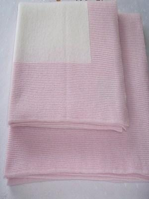 Pink and White Cashmere Baby Blanket (60 x 90cm)